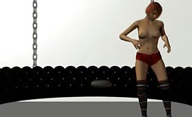 Sexy Short Haired 3D Cartoon Brunette Babe Dances Around Before Taking Her Clothes Off