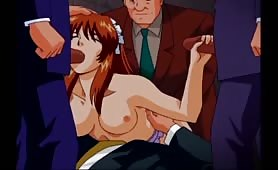 Gorgeous Redhead Hentai Hottie Enjoying Getting Fucked by Four Horny Hunks
