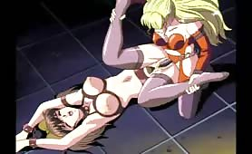 Hentai Dyke in Crotchless Panties and a Cup-less Bra Fingered and Fucked with a Strap On
