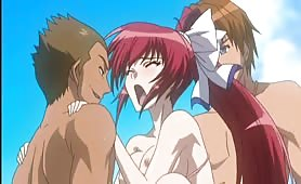 Beautiful Redhead Hentai Hottie Gets Double Penetration at the Beach