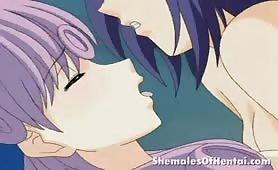 Squirting Purple Haired Hentai Babe Gets Fucked by a Shemale